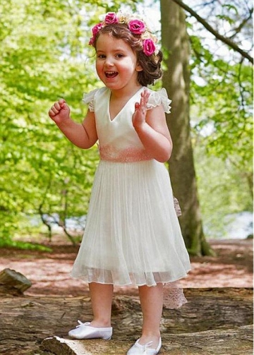 Delicate Satin & Chiffon V-neck Neckline Tea-length A-line Flower Girl Dresses With Belt