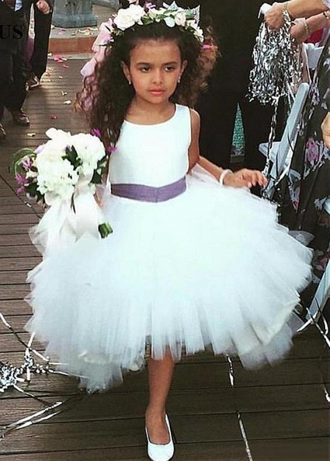 Attractive Tulle & Satin Scoop Neckline Ball Gown Flower Girl Dresses With Belt