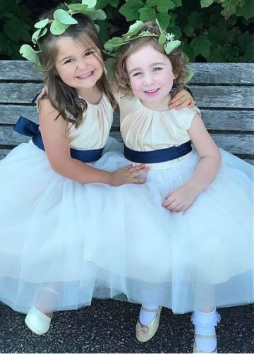 Sweet Satin & Tulle Jewel Neckline A-line Flower Girl Dresses With Belt