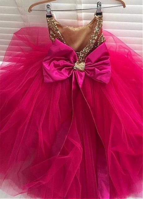 Pretty Sequin Lace & Tulle Jewel Neckline A-line Flower Girl Dresses With Bowknot