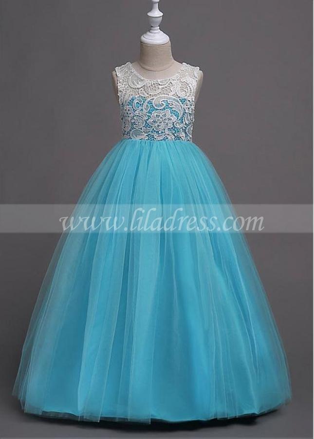 Marvelous Tulle & Lace Jewel Neckline A-line Flower Girl Dress