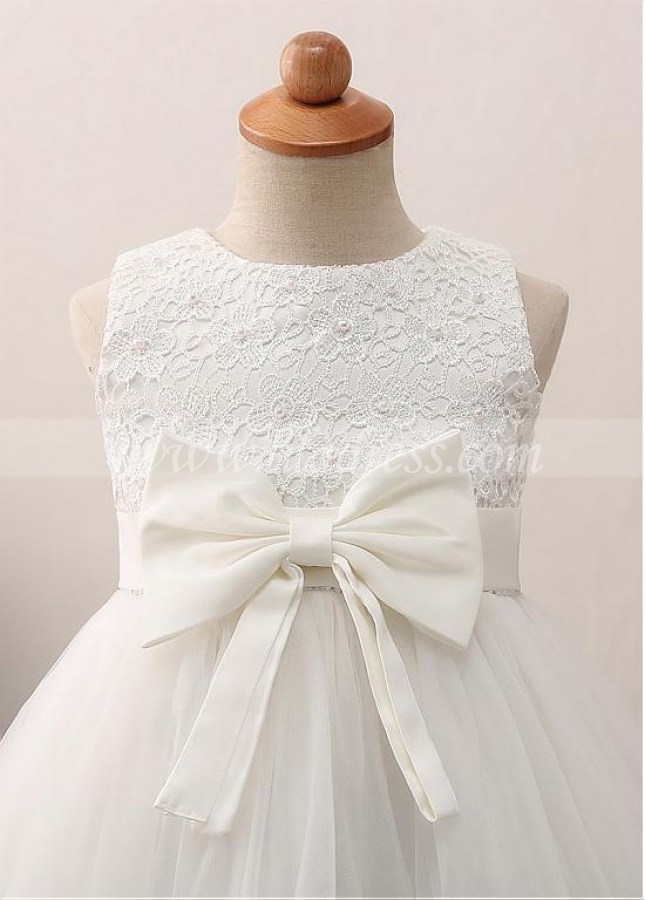 Pretty Tulle & Satin & Lace Jewel Neckline A-line Flower Girl Dress With Imitation Pearls & Belt