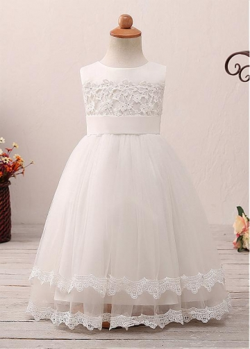 Elegant Tulle Jewel Neckline A-line Flower Girl Dress With Lace Appliques & Belt