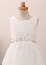 Delicate Lace Jewel Neckline A-line Flower Girl Dress With Beadings & Belt