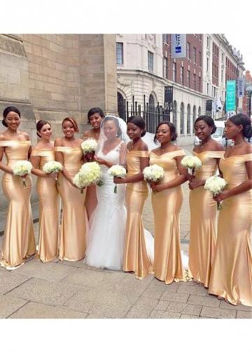 Exquisite Off-the-shoulder Neckline Floor-length Mermaid Bridesmaid Dresses