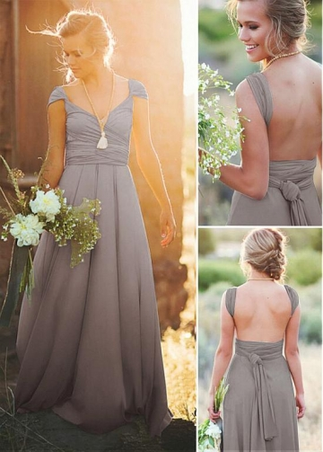 Elegant Chiffon V-neck Neckline Full-length A-line Bridesmaid Dresses With Belt