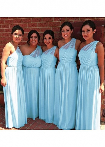 Beautiful Chiffon One Shoulder Neckline Full-length A-line Bridesmaid Dresses