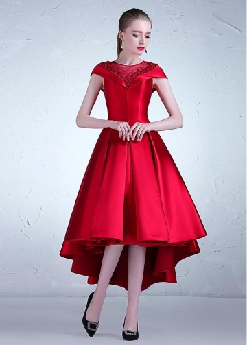 Romantic Tulle & Satin Jewel Neckline Hi-lo A-line Prom Dress With Beadings