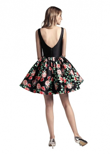 Sweet Satin V-neck Neckline Short Length A-line Print Homecoming Dress