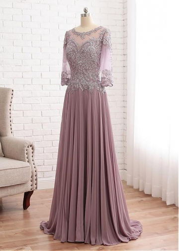 Fabulous Tulle & Chiffon Scoop Neckline A-line Mother Of The Bride Dress With Beaded Lace Appliques