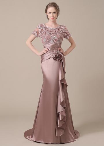 Elegant Silk Like Satin Scoop Neckline Lace Mermaid Mother of The Bride Dresses