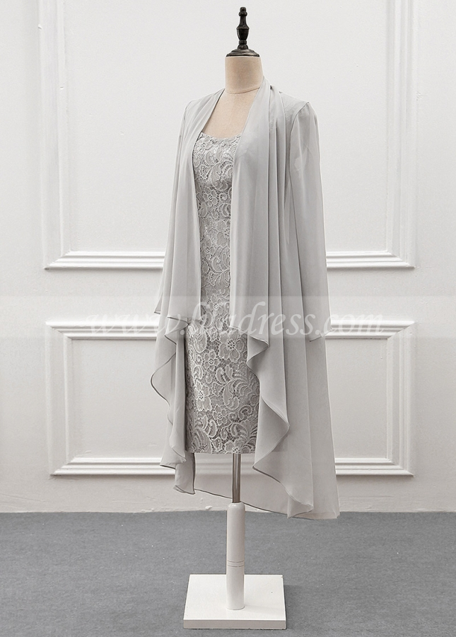 Elegant Lace & Chiffon Scoop Neckline Knee-length Sheath Mother Of The Bride Dress With Detachable Coat