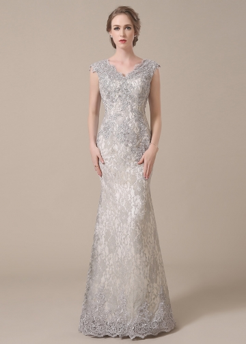 Elegant Lace V-neck Neckline Mermaid Mother of The Bride Dresses