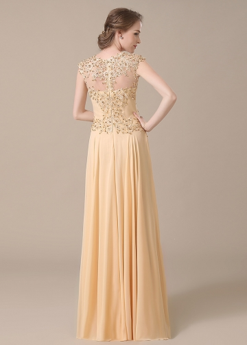 Elegant Lace & Chiffon Jewel Neckline Full-length A-line Mother of The Bride Dresses