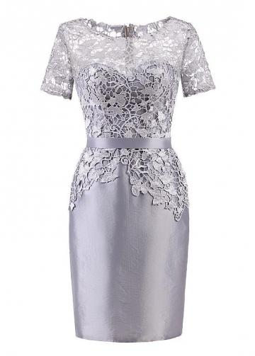 Popular Lace & Taffeta Bateau Neckline Short Sleeves Sheath/Column Mother Of The Bride Dresses With Belt