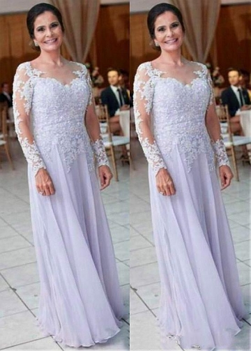 Stunning Tulle & Chiffon Jewel Neckline A-line Mother Of The Bride Dress With Beaded Lace Appliques