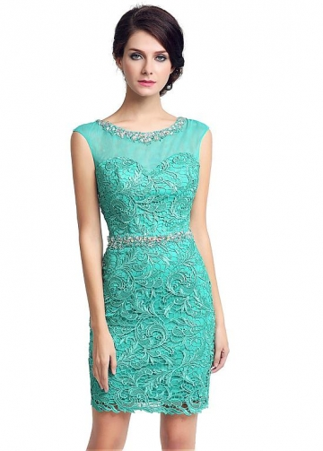 Amazing Tulle & Lace Scoop Neckline Short-length Sheath Cocktail / Mother Of The Bride Dresses With Beadings