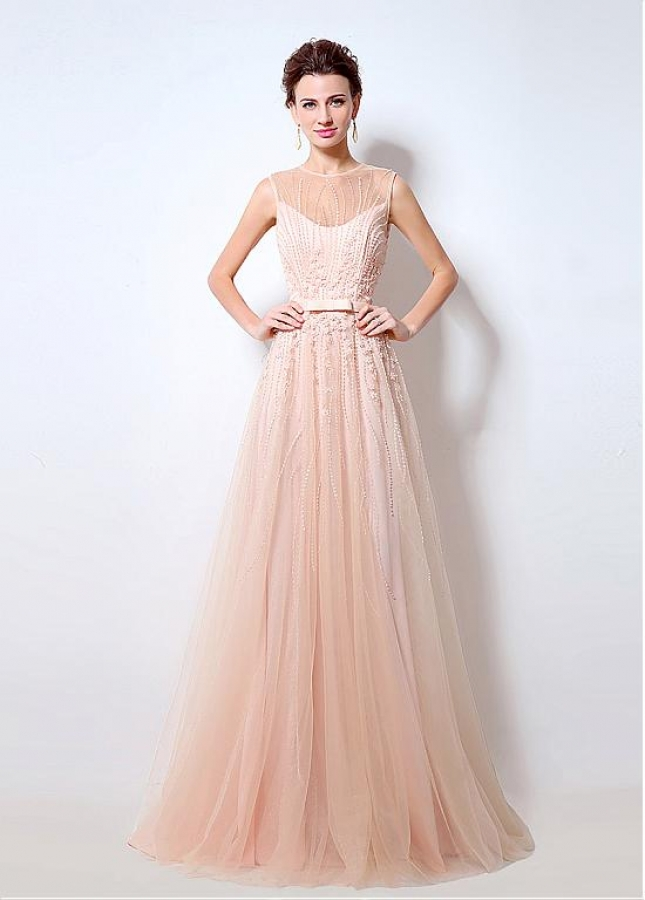 Alluring Tulle Sheer Jewel Neckline A-Line Prom / Mother Of The Bride Dresses With Beadings