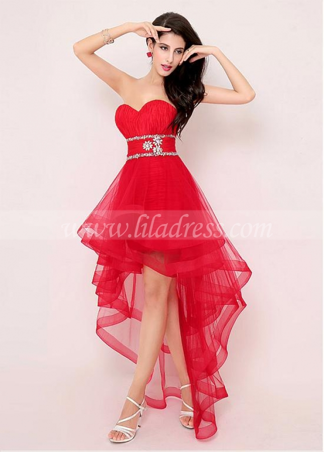 Exquisite Tulle Sweetheart Neckline Hi-lo A-line Prom Dresses
