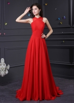 Glamorous Chiffon High Collar Neckline A-Line Prom Dresses