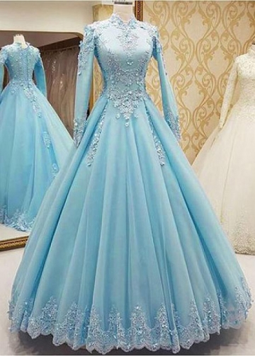 Elegant Tulle High Collar Floor-length A-line Prom Dresses With Lace Appliques & Beaded 3D Flowers