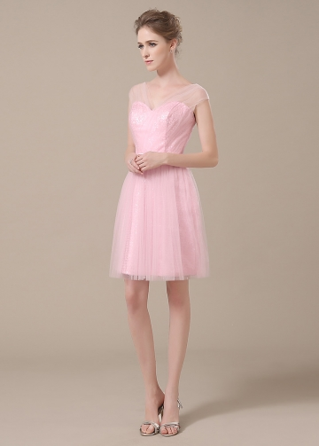 Chic Tulle V-neck Neckline Short A-line Bridesmaid Dresses