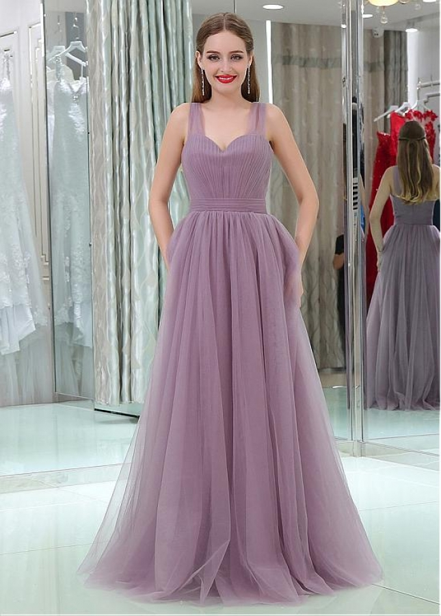 Fashionable Tulle Sweetheart Neckline Floor-length A-line Prom Dresses