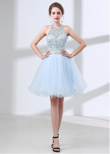 Glamorous Tulle Halter Neckline Two-piece A-line Homecoming Dress Wih Beadings