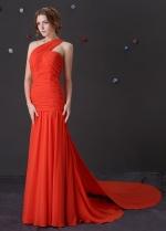 Elegant Chiffon One Shoulder Neckline Mermaid Prom Dresses