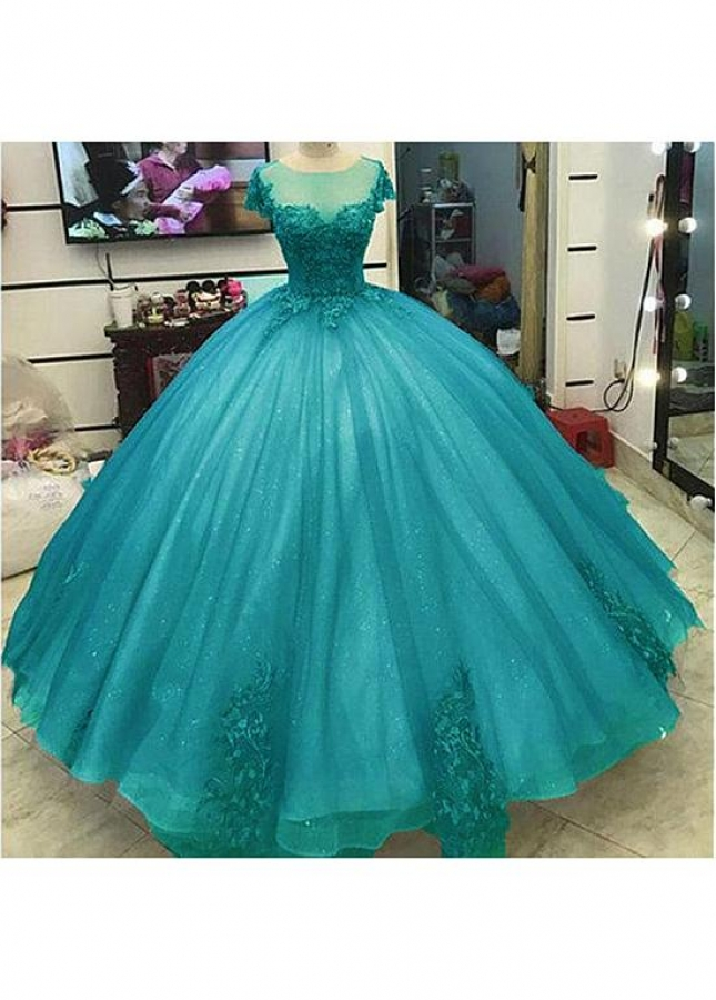 Glamorous Tulle Jewel Neckline Floor-length Ball Gown Quinceanera Dresses With Lace Appliques