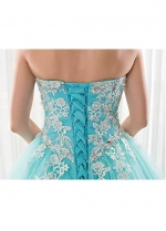 Romantic Tulle Sweetheart Neckline Ball Gown Quinceanera Dress With Beadings & Lace Appliques