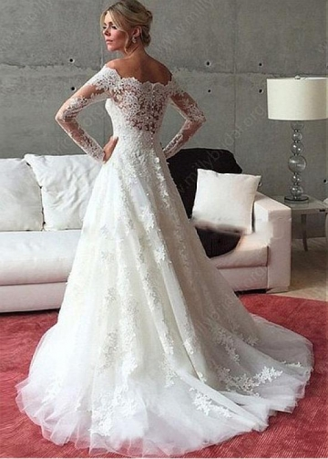 Romantic Tulle Off-the-shoulder Neckline A-line Wedding Dress With Beadings & Lace Appliques