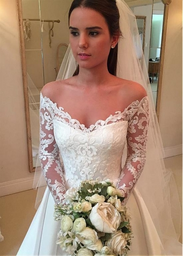 Wonderful Tulle & Satin Off-the-shoulder Neckline A-line Wedding Dress With Lace Appliques