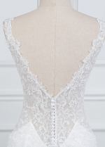 Exquisite V-neck Mermaid Wedding Dress With Lace Appliques & Beadings