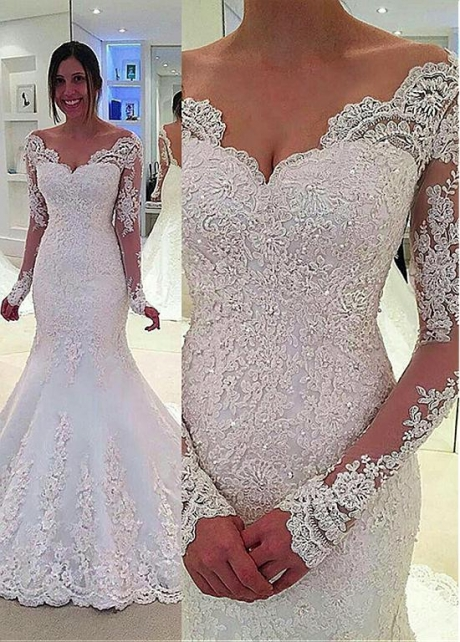 Charming Tulle & Satin V-Neck Mermaid Wedding Dresses With Beaded Lace Appliques