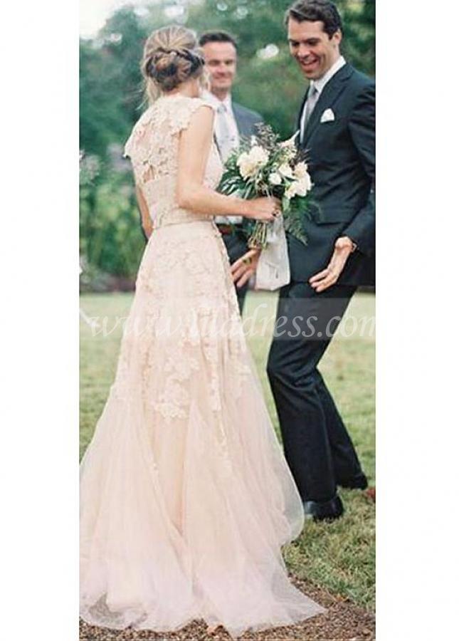Alluring Tulle V-neck Neckline A-line Wedding Dresses