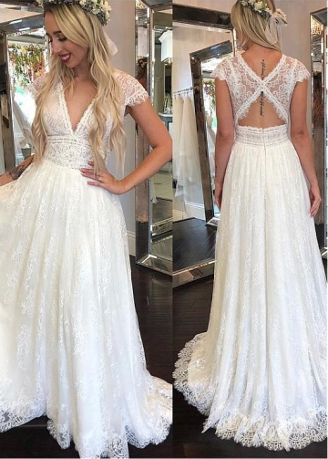 Eye-catching Lace V-neck Neckline A-line Wedding Dresses