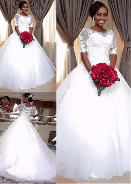 Graceful Polka Dot Tulle & Tulle Jewel Neckline Ball Gown Wedding Dress With Lace Appliques & Beadings