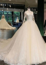 Junoesque Tulle Scoop Neckline Ball Gown Wedding Dress With Lace Appliques & Beadings