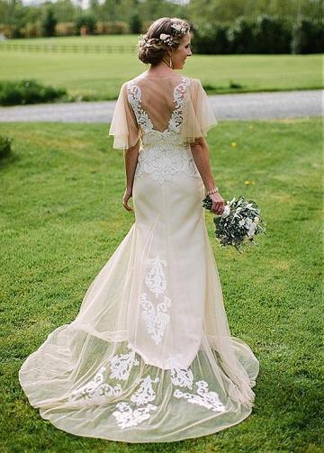 Delicate Tulle Bateau Neckline Mermaid Wedding Dresses With Lace Appliques