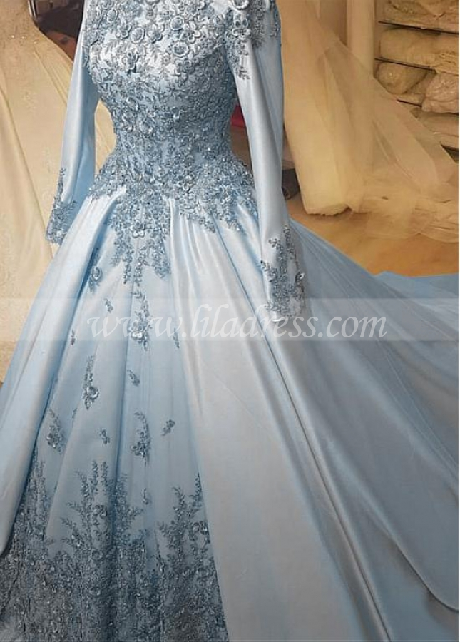 Vintage Satin High Collar Natural Waistline A-line Wedding Dress With Beaded Lace Appliques & 3D Flowers