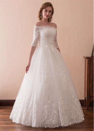 Wonderful Tulle Off-the-shoulder Neckline 3/4 Length Sleeves A-line Wedding Dress With Lace Appliques
