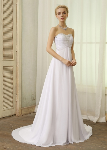 Elegant Chiffon Sweetheart Neckline A-line Wedding Dresses With Beaded Lace Appliques