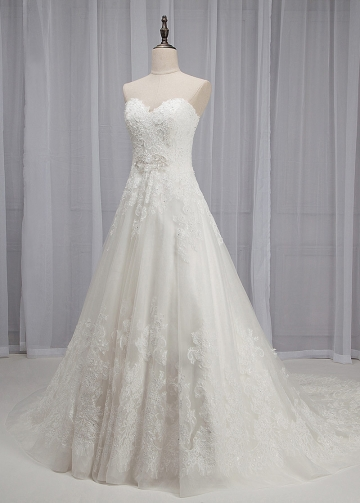 Elegant Tulle & Organza Sweetheart Neckline A-line Wedding Dress With Lace Appliques & Beadings