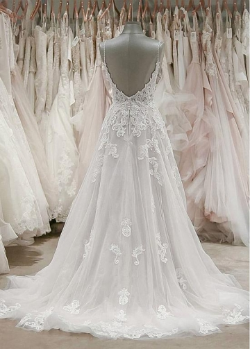 Gorgeous Tulle Spaghetti Straps Neckline A-line Wedding Dresses With Lace Appliques & Beadings