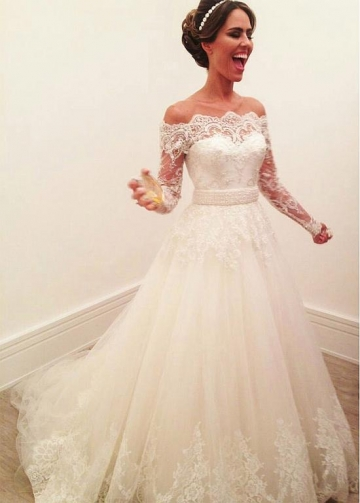 Brilliant Tulle Off-the-shoulder Neckline A-line Wedding Dresses With Lace Appliques & Beadings