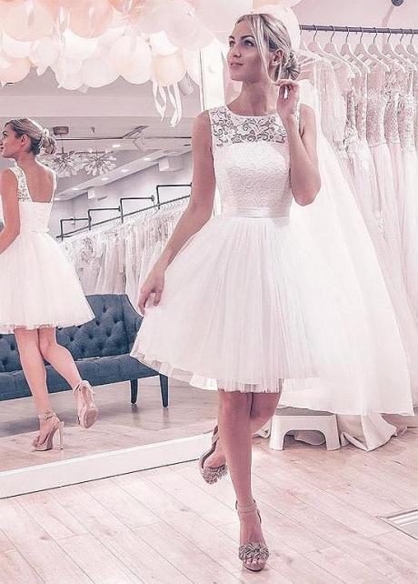 Marvelous Lace & Tulle Jewel Neckline Short Wedding Dresses