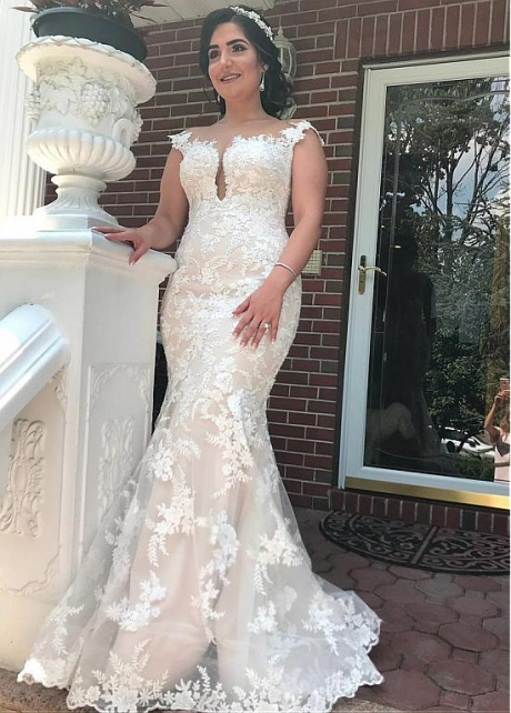 Junoesque Tulle Bateau Neckline Mermaid Wedding Dresses With Beaded Lace Appliques