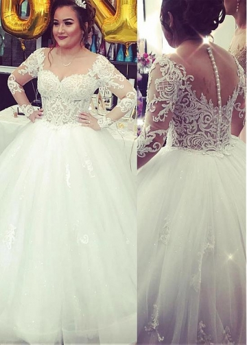 Marvelous Tulle Jewel Neckline Ball Gown Wedding Dresses With Beaded Lace Appliques