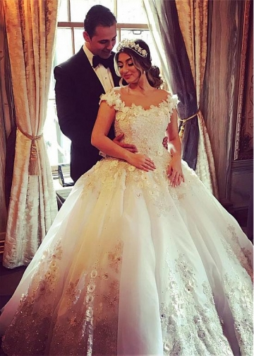 Gorgeous Tulle Jewel Neckline Ball Gown Wedding Dresses With Beaded Lace Appliques & Handmade Flowers